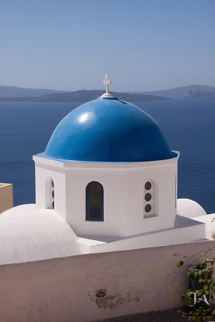 Blue Dome Church overlooking the Aegean from Oia, Santorini