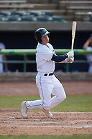 Cody Farhat (47) of the Lynchburg Hillcats at bat against the Myrtle Beach Pelicans at Bank of the James Stadium on May 23, 2021 in Lynchburg, Virginia. (Brian Westerholt/Four Seam Images)