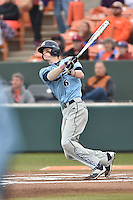 Main Black Bears right fielder Tyler Schwanz (6) swings at a pitch during a game against the Clemson Tigers at Doug Kingsmore Stadium on February 20, 2016 in Clemson, South Carolina. The Tigers defeated the Black Bears 9-4. (Tony Farlow/Four Seam Images)