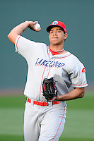 Pitcher Miguel Nunez (37) of the Lakewood BlueClaws before a game against the Greenville Drive on Wednesday, April 24, 2013, at Fluor Field at the West End in Greenville, South Carolina. Lakewood won, 7-5. (Tom Priddy/Four Seam Images)