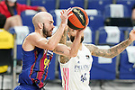 Real Madrid Baloncesto's Jeffery Taylor (r) and FC Barcelona's Nick Calathes during Liga Endesa ACB 1st Final match. June 13,2021. (ALTERPHOTOS/Acero)
