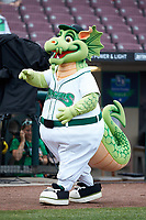 "Dayton Dragons mascot ""Heater"" entertains fans prior to the game against the Bowling Green Hot Rods at Fifth Third Field on June 9, 2018 in Dayton, Ohio. The Hot Rods defeated the Dragons 1-0.  (Brian Westerholt/Four Seam Images)"