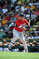 Minnesota Twins outfielder Oswaldo Arcia (31) during a Spring Training game against the Pittsburgh Pirates on March 13, 2015 at McKechnie Field in Bradenton, Florida.  Minnesota defeated Pittsburgh 8-3.  (Mike Janes/Four Seam Images)