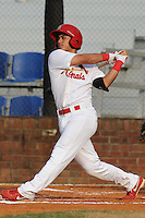 Johnson City Cardinals third baseman Tyler Rahmatulla #18 swings at a pitch during the first game of the 2011 Championship Series between the Bluefield Blue Jays and the Johnson City Cardinals at Howard Johnson Field on September 3, 2011 in Johnson City, Tennessee.  The Cardinals won the game 4-3.  (Tony Farlow/Four Seam Images)