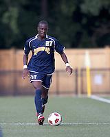 Quinnipiac University forward Demba Sylla (27) at midfield. Boston College defeated Quinnipiac, 5-0, at Newton Soccer Field, September 1, 2011.