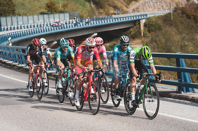 The early breakaway group during Stage 11 of the Vuelta Espana 2020 running 170km from Villaviciosa to Alto de la Farrapona, Spain. 31st October 2020. <br /> Picture: Unipublic/Charly Lopez | Cyclefile<br /> <br /> All photos usage must carry mandatory copyright credit (© Cyclefile | Unipublic/Charly Lopez)