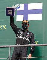 30th August 2020, Spa Francorhamps, Belgium, F1 Grand Prix of Belgium , Race Day;  77 Valtteri Bottas FIN, Mercedes-AMG Petronas Formula One Team celebrates 2nd place on podium