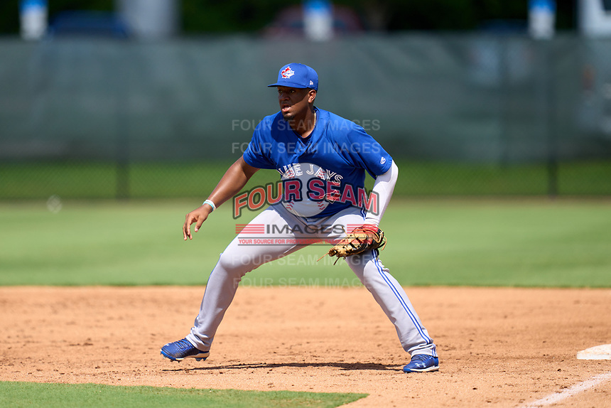 Toronto Blue Jays first baseman Rainer Nunez (68) during an Extended Spring Training game against the Philadelphia Phillies on June 12, 2021 at the Carpenter Complex in Clearwater, Florida. (Mike Janes/Four Seam Images)