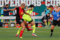 Rochester, NY - Saturday July 09, 2016: Western New York Flash midfielder Lianne Sanderson (10), Seattle Reign FC midfielder Keelin Winters (11) during a regular season National Women's Soccer League (NWSL) match between the Western New York Flash and the Seattle Reign FC at Frontier Field.