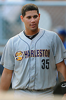 Charleston RiverDogs catcher Gary Sanchez #35 during a  game  against  the Asheville Tourists at McCormick Field on August 4, 2011 in Asheville, North Carolina. Asheville won the game 5-4.   (Tony Farlow/Four Seam Images)