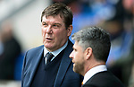St Johnstone v Motherwell…07.04.18…  McDiarmid Park    SPFL<br />Saints manager Tommy Wright talks with Motherwell boss Stephen Robinson<br />Picture by Graeme Hart. <br />Copyright Perthshire Picture Agency<br />Tel: 01738 623350  Mobile: 07990 594431