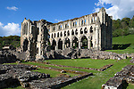 Great Britain, England, North Yorkshire, Rievaulx near Helmsley: Ruins of 12th century Cistercian Abbey in secluded valley