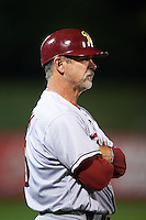 Frisco RoughRiders manager Joe Mikulik (25) during a game against the Springfield Cardinals  on June 4, 2015 at Hammons Field in Springfield, Missouri.  Frisco defeated Springfield 8-7.  (Mike Janes/Four Seam Images)