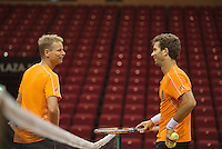 09-09-13,Netherlands, Groningen,  Martini Plaza, Tennis, DavisCup Netherlands-Austria, DavisCup,   Jean-Julien Rojer (NED) and Captan Jan Siemerink(L)<br /> Photo: Henk Koster