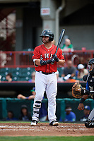 Erie SeaWolves first baseman Wade Hinkle (43) at bat during a game against the Hartford Yard Goats on August 6, 2017 at UPMC Park in Erie, Pennsylvania.  Erie defeated Hartford 9-5.  (Mike Janes/Four Seam Images)