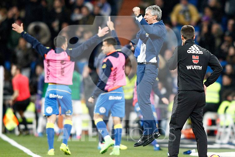 UD Las Palmas' coach Paco Herrera celebrates goal during La Liga match. March 1,2017. (ALTERPHOTOS/Acero)
