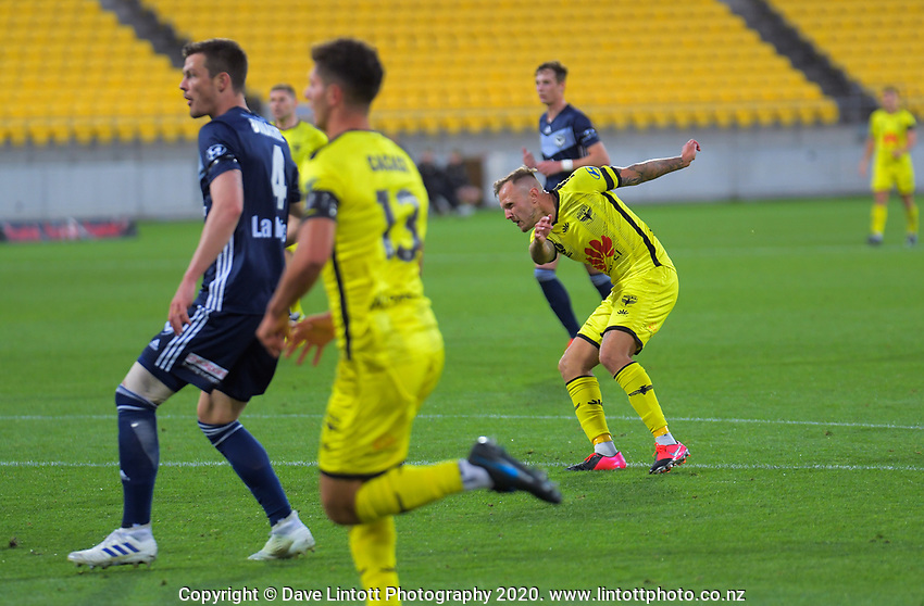 David Ball scores during the A-League football match between Wellington Phoenix and Melbourne Victory FC at Sky Stadium in Wellington, New Zealand on Sunday, 15 March 2020. Photo: Dave Lintott / lintottphoto.co.nz