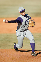 James Madison relief pitcher Bobby Kim fires the ball to the plate versus Charlotte at Fieldcrest Cannon Stadium in Kannapolis, NC, Friday, March 2, 2007.  The Charlotte 49'ers defeated the James Madison Dukes 16-7.