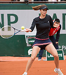 Tsvetana Pironkova (BUL) trails Maria Sharapova (RUS) in the second set at  Roland Garros being played at Stade Roland Garros in Paris, France on May 28, 2014