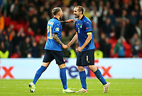 LONDON, ENGLAND - JULY 06: Federico Bernardeschi of Italy is congratulated by teammate Giorgio Chiellini after scoring their side's fourth penalty in a penalty shoot out during the UEFA Euro 2020 Championship Semi-final match between Italy and Spain at Wembley Stadium on July 06, 2021 in London, England. (Photo by Alex Morton - UEFA/UEFA via Getty Images)<br /> Photo Uefa/Insidefoto ITA ONLY
