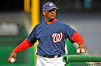 29 March 2008: Washington Nationals' batting practice coach Jose Martinez tosses pitches prior to an exhibition game against the Baltimore Orioles at Nationals Park, in Washington, DC. The matchup was the first professional game played in the new ballpark, prior to the upcoming official opening day inaugural game. The Nationals defeated the Orioles 3-0...Mandatory Photo Credit: Ed Wolfstein Photo