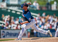 31 May 2018: New Hampshire Fisher Cats starting pitcher Jon Harris on the mound against the Portland Sea Dogs at Northeast Delta Dental Stadium in Manchester, NH. The Sea Dogs defeated the Fisher Cats 12-9 in extra innings. Mandatory Credit: Ed Wolfstein Photo *** RAW (NEF) Image File Available ***