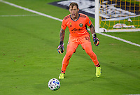 LOS ANGELES, CA - SEPTEMBER 13: Steve Clark #12 GK of the Portland Timbers moves with the ball during a game between Portland Timbers and Los Angeles FC at Banc of California stadium on September 13, 2020 in Los Angeles, California.