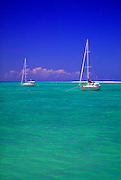 2 sailboats at anchor in the Caribbean. Anagada, British Virgin Islands Caribbean.