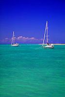 2 sailboats at anchor in the Caribbean. Anagada, British Virgin Islands Caribbean.