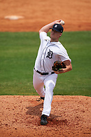 Detroit Tigers pitcher Jack Dellinger (91) during a Minor League Spring Training game against the Philadelphia Phillies on April 17, 2021 at TigerTown in Lakeland, Florida.  (Mike Janes/Four Seam Images)