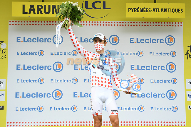 Benoit Cosnefroy (FRA) AG2R La Mondial retains the mountains Polka Dot Jersey at the end of Stage 9 of Tour de France 2020, running 153km from Pau to Laruns, France. 6th September 2020. <br /> Picture: ASO/Alex Broadway | Cyclefile<br /> All photos usage must carry mandatory copyright credit (© Cyclefile | ASO/Alex Broadway)