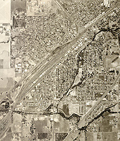 historical aerial photograph Roseville, Sarcamento county, California, 1966