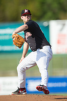 Kannapolis Intimidators starting pitcher Tyler Barnette (18) in action against the Hagerstown Suns at CMC-Northeast Stadium on June 1, 2014 in Kannapolis, North Carolina.  The Suns defeated the Intimidators 11-5 in game two of a double-header.  (Brian Westerholt/Four Seam Images)