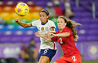 ORLANDO CITY, FL - FEBRUARY 18: Lynn Williams #6 of the United States and Allysha Chapman #2 of Canada ball watching during a game between Canada and USWNT at Exploria Stadium on February 18, 2021 in Orlando City, Florida.