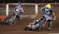 Heat 15: Lewis Bridger (blue) and Rory Schlein (yellow) - Lakeside Hammers vs Kings Lynn Stars, Elite League Speedway at the Arena Essex Raceway, Pufleet - 23/04/13 - MANDATORY CREDIT: Rob Newell/TGSPHOTO - Self billing applies where appropriate - 0845 094 6026 - contact@tgsphoto.co.uk - NO UNPAID USE.