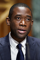 Adewale Adeyemo gives an opening statement during his Senate Finance Committee nomination hearing to be the next Deputy Treasury Secretary on Tuesday, February 23, 2021at Capitol Hill in Washington, D.C.<br /> Credit: Greg Nash / Pool via CNP /MediaPunch