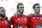 EURO 2016 QUALIFYING: WALES V ISRAEL AT CARDIFF CITY STADIUM : <br /> Gareth Bale of Wales sings the national anthem.<br /> <br /> EDITORIAL USE ONLY.