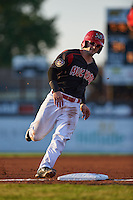 Batavia Muckdogs second baseman Taylor Munden (21) running the bases during a game against the State College Spikes August 22, 2015 at Dwyer Stadium in Batavia, New York.  State College defeated Batavia 5-3.  (Mike Janes/Four Seam Images)
