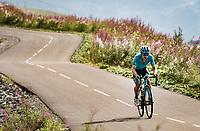 stage leader Miguel 'Superman' Angel Lopez (COL/Astana) up the finish climb & the highest peak of the 2020 #TdF: the Col de la Loze (HC/2304m/21,5km @7,8%)<br /> <br /> Stage 17 from Grenoble to Méribel - Col de la Loze (170km)<br /> <br /> 107th Tour de France 2020 (2.UWT)<br /> (the 'postponed edition' held in september)<br /> <br /> ©kramon