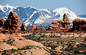 LA SAL MOUNTAINS AND TURRET ARCH<br /> ARCHES NATIONAL PARK, UTAH