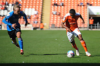 Blackpool's Demetri Mitchell under pressure from Swindon Town's Matthew Smith<br /> <br /> Photographer Kevin Barnes/CameraSport<br /> <br /> The EFL Sky Bet League One - Blackpool v Swindon Town - Saturday 19th September 2020 - Bloomfield Road - Blackpool<br /> <br /> World Copyright © 2020 CameraSport. All rights reserved. 43 Linden Ave. Countesthorpe. Leicester. England. LE8 5PG - Tel: +44 (0) 116 277 4147 - admin@camerasport.com - www.camerasport.com