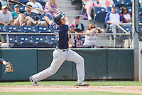Dane McFarland (23) of the Hillsboro Hops at bat during a game against the Everett Aquasox at Everett Memorial Stadium in Everett, Washington on July 5, 2015.  Hillsboro defeated Everett 11-4. (Ronnie Allen/Four Seam Images)