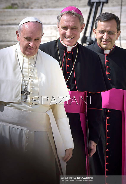 Pope Francis Monsignor Georg Ganswein, during his weekly general audience in St. Peter square at the Vatican, Wednesday. September 10, 2014.