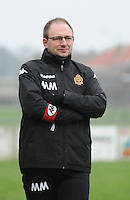 20160116 - ZULTE , BELGIUM : KV Mechelen's coach Michael Moins  pictured during a soccer match between the women teams of Famkes Merkem B and Yellow-Red KV Mechelen  , during the matchday in the Tirth League - Derde Nationale season, Saturday 13 February 2016 . PHOTO DIRK VUYLSTEKE