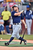 Montgomery Biscuits second baseman Ryan Brett #1 swings at a pitch during the Southern League Home Run Derby at Engel Stadium on June 16, 2014 in Chattanooga, Tennessee.  (Tony Farlow/Four Seam Images)