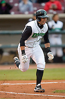 Jordan Wideman #23 of the Dayton Dragons hustles down the first base line versus the Great Lakes Loons at Fifth Third Field April 21, 2009 in Dayton, Ohio. (Photo by Brian Westerholt / Four Seam Images)