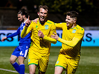 5th April 2021; Palmerston Park, Dumfries, Scotland; Scottish Cup Third Round, Queen of the South versus Hibernian; Christian Doidge of Hibernian celebrates after scoring second goal in minute 67 with Kevin Nisbet of Hibernian