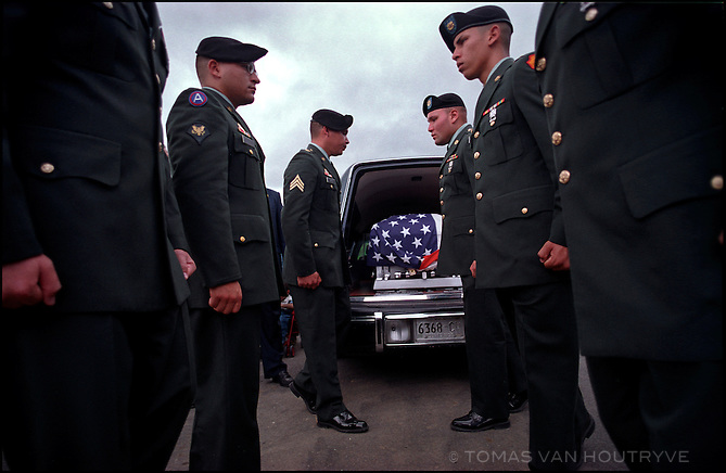 The body of a Puerto Rican U.S. Army soldier Ramon Reyes, who was killed in a rocket-propelled grenade attack in Iraq, arrives for burial in his home town of Caguas in the United States territory of Puerto Rico on July 24, 2003. Unlike American soldiers from the 50 states, Puerto Ricans are not allowed to vote for U.S. President.
