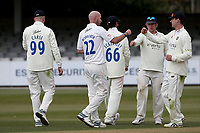 Chris Rushworth of Durham celebrates with his team mates after taking the wicket of Ben Allison during Essex CCC vs Durham CCC, LV Insurance County Championship Group 1 Cricket at The Cloudfm County Ground on 15th April 2021
