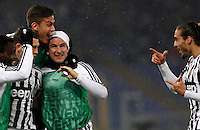Calcio, quarti di finale di Coppa Italia: Lazio vs Juventus. Roma, stadio Olimpico, 20 gennaio 2016.<br /> Juventus' Stephan Lichsteiner, second from left, celebrates with teammates, from left, Kwadwo Asamoah, Paulo Dybala, Simone Padoin and Martin Caceres after scoring during the Italian Cup quarter final football match between Lazio and Juventus at Rome's Olympic stadium, 20 January 2016.<br /> UPDATE IMAGES PRESS/Isabella Bonotto